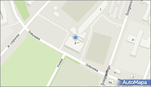 Kielce, Ściegiennego Piotra, ks., 8, mapa Kielc