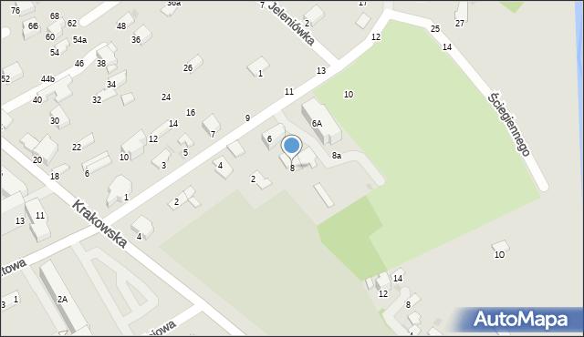 Krosno, Ściegiennego Piotra, ks., 8, mapa Krosna