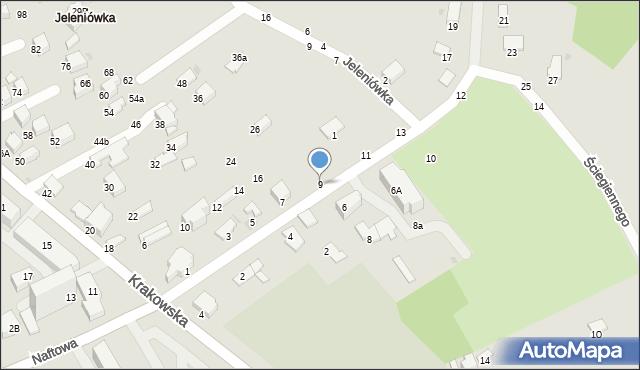 Krosno, Ściegiennego Piotra, ks., 9, mapa Krosna
