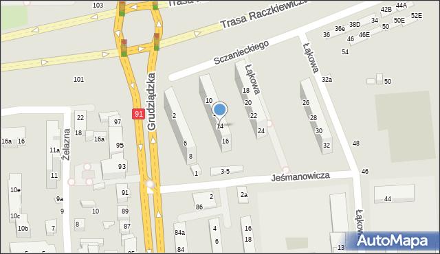 Toruń, Sczanieckiego Michała, 14, mapa Torunia