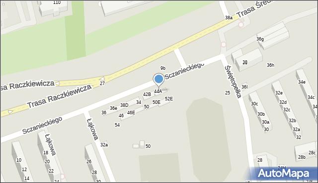 Toruń, Sczanieckiego Michała, 44B, mapa Torunia