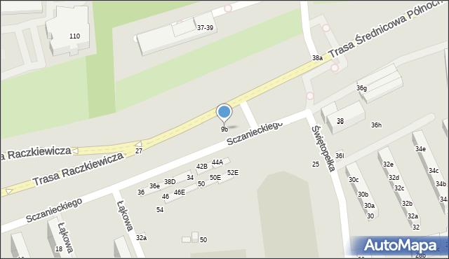 Toruń, Sczanieckiego Michała, 9b, mapa Torunia