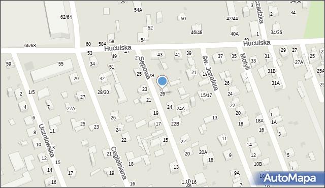 Częstochowa, Sępowa, 26, mapa Częstochowy