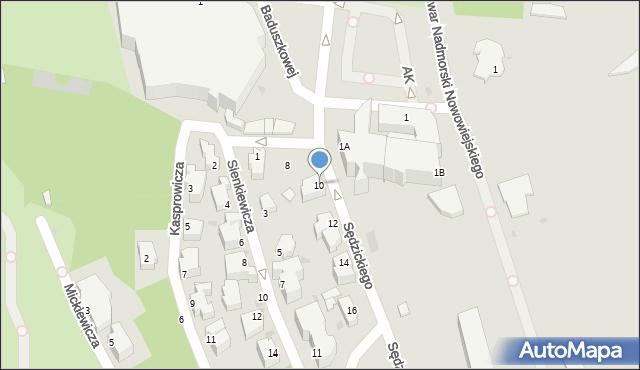 Gdynia, Sędzickiego Franciszka, 10, mapa Gdyni