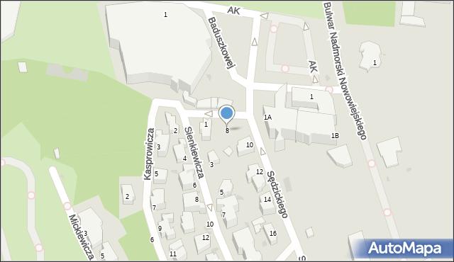 Gdynia, Sędzickiego Franciszka, 8, mapa Gdyni