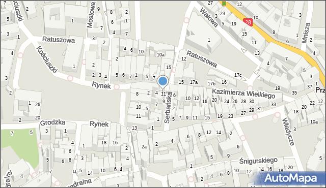 Przemyśl, Serbańska, 11, mapa Przemyśla