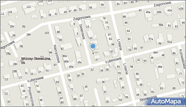 Toruń, Selerowa, 4, mapa Torunia