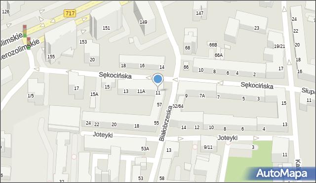 Warszawa, Sękocińska, 11, mapa Warszawy