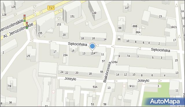Warszawa, Sękocińska, 11A, mapa Warszawy