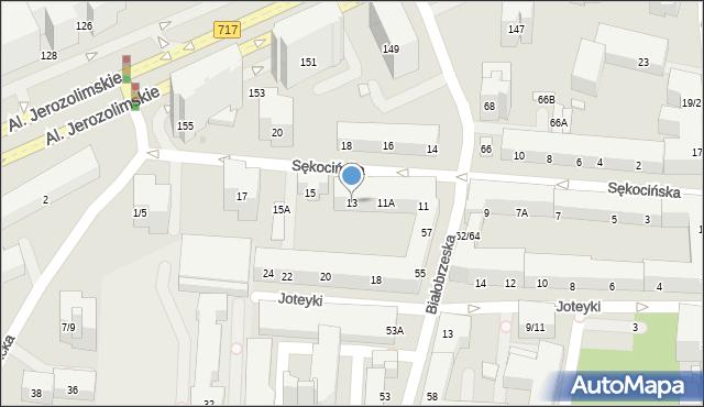 Warszawa, Sękocińska, 13, mapa Warszawy