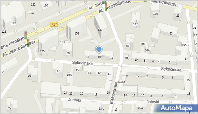 Warszawa, Sękocińska, 16, mapa Warszawy