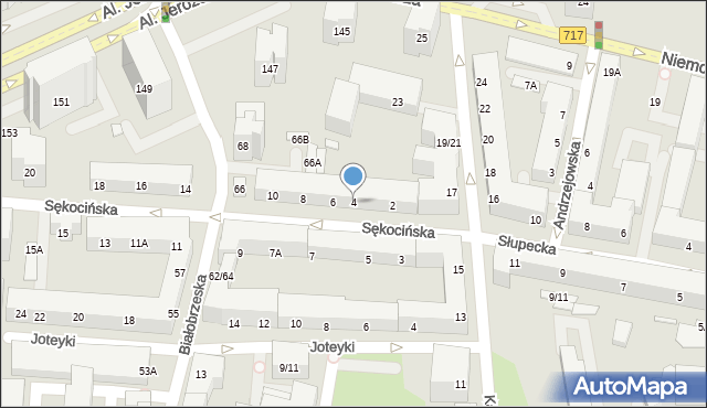 Warszawa, Sękocińska, 4, mapa Warszawy