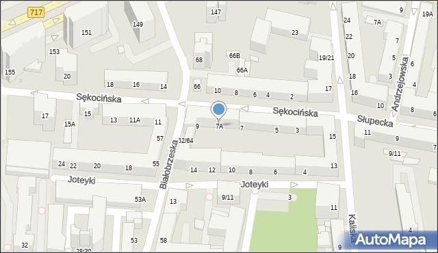 Warszawa, Sękocińska, 7A, mapa Warszawy
