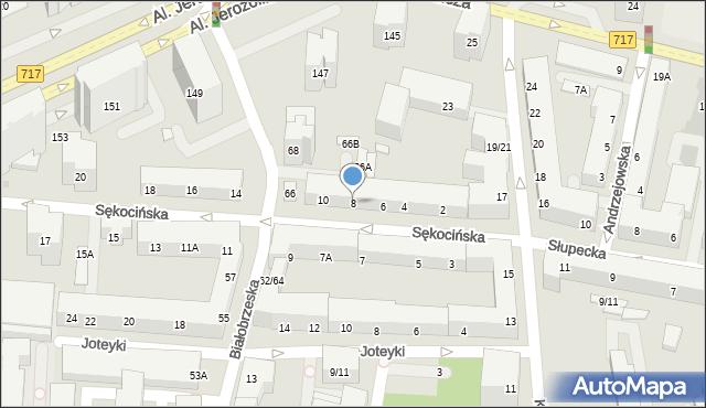 Warszawa, Sękocińska, 8, mapa Warszawy