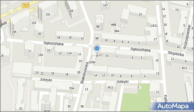 Warszawa, Sękocińska, 9, mapa Warszawy