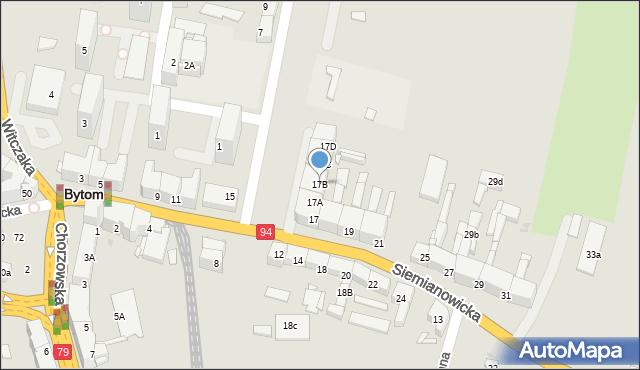Bytom, Siemianowicka, 17B, mapa Bytomia