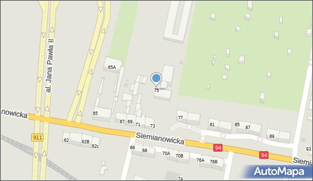 Bytom, Siemianowicka, 75, mapa Bytomia
