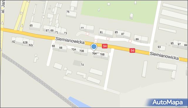 Bytom, Siemianowicka, 76A, mapa Bytomia