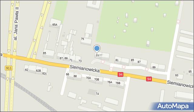 Bytom, Siemianowicka, 77, mapa Bytomia