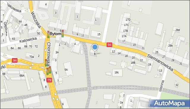 Bytom, Siemianowicka, 8, mapa Bytomia