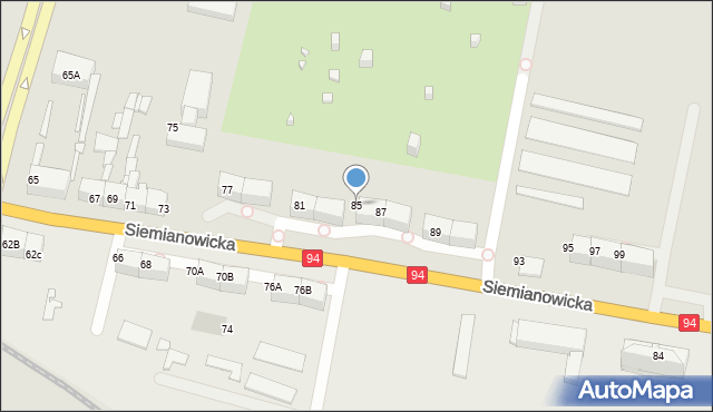 Bytom, Siemianowicka, 85, mapa Bytomia