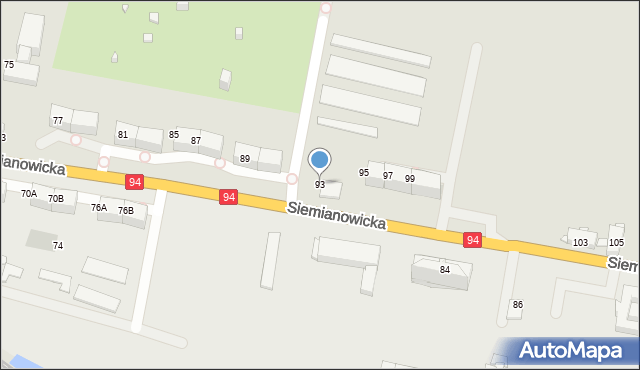 Bytom, Siemianowicka, 93, mapa Bytomia