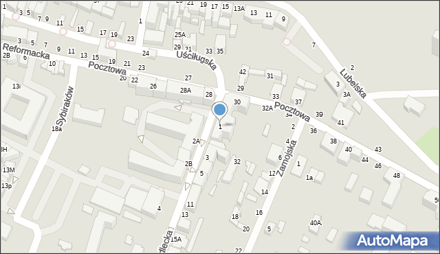 Chełm, Siedlecka, 1, mapa Chełma