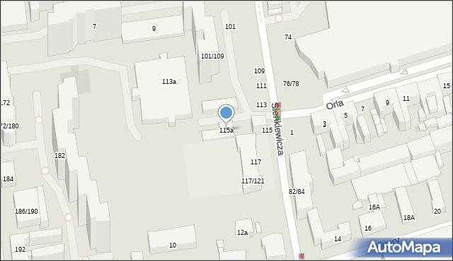 Łódź, Sienkiewicza Henryka, 115a, mapa Łodzi