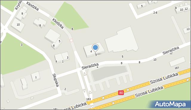 Toruń, Sieradzka, 3, mapa Torunia