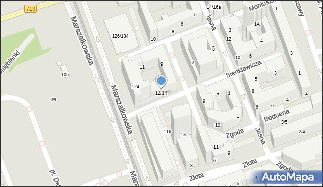 Warszawa, Sienkiewicza Henryka, 12/14, mapa Warszawy