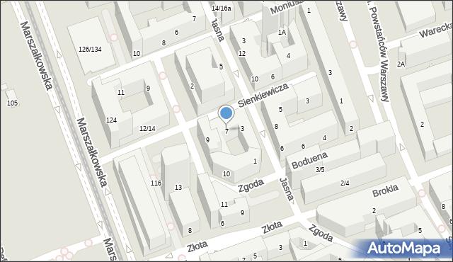 Warszawa, Sienkiewicza Henryka, 7, mapa Warszawy