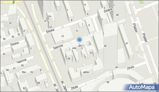 Warszawa, Sienna, 43, mapa Warszawy