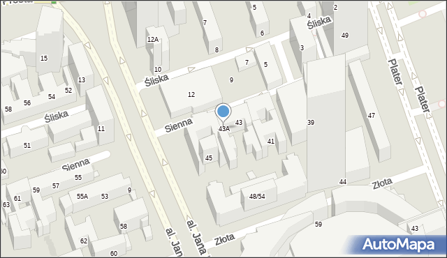 Warszawa, Sienna, 43A, mapa Warszawy