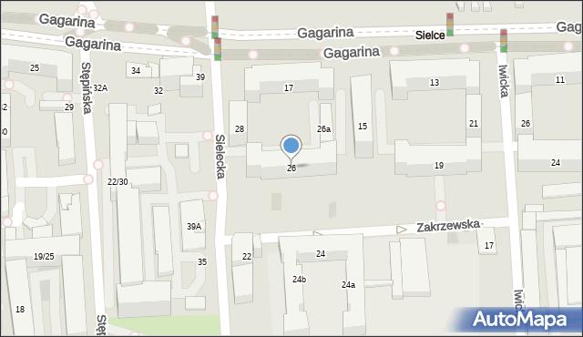 Warszawa, Sielecka, 26, mapa Warszawy