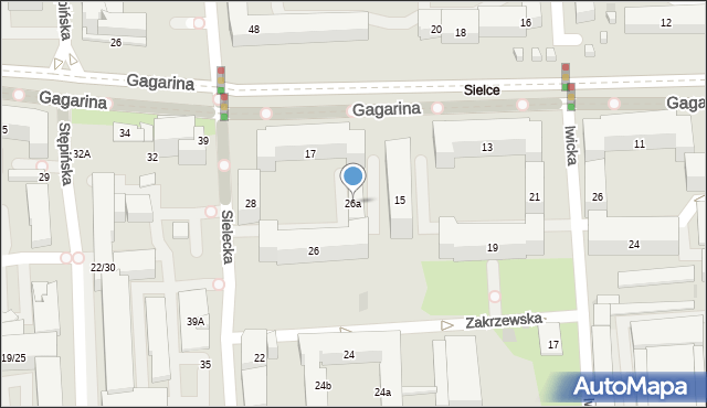 Warszawa, Sielecka, 26a, mapa Warszawy