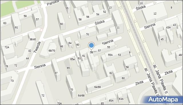 Warszawa, Sienna, 59, mapa Warszawy