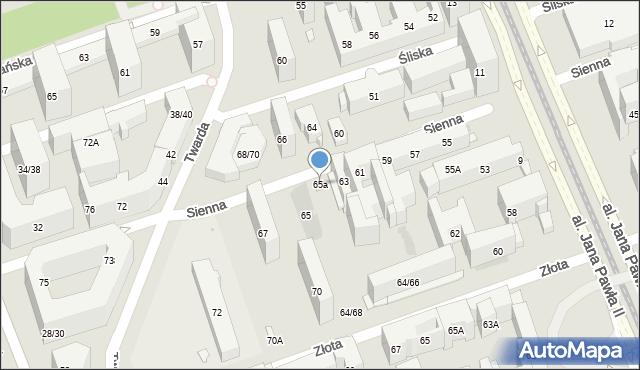 Warszawa, Sienna, 65a, mapa Warszawy