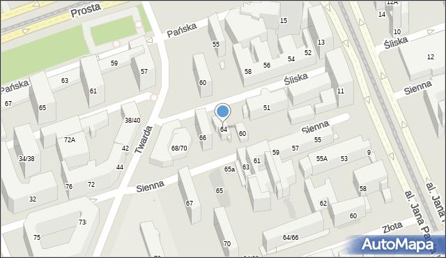Warszawa, Sienna, 64, mapa Warszawy