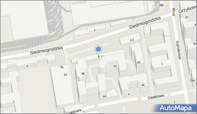 Warszawa, Siedmiogrodzka, 3, mapa Warszawy