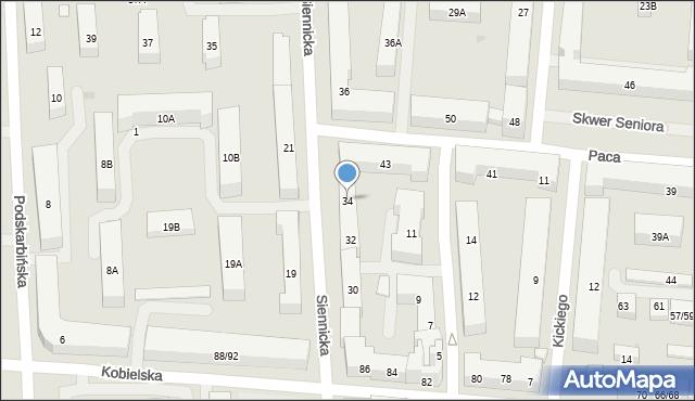 Warszawa, Siennicka, 34, mapa Warszawy