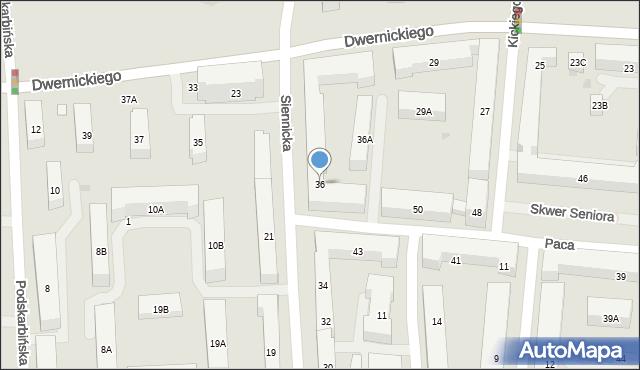 Warszawa, Siennicka, 36, mapa Warszawy
