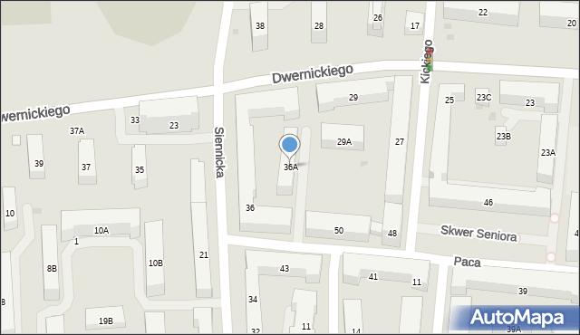Warszawa, Siennicka, 36A, mapa Warszawy