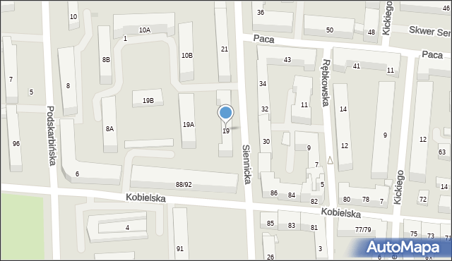 Warszawa, Siennicka, 19, mapa Warszawy