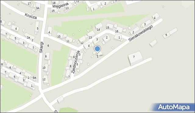 Zabrze, Sierakowskiego Józefa, 1, mapa Zabrza