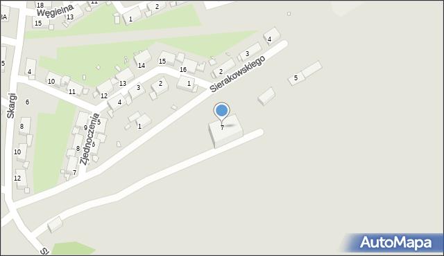 Zabrze, Sierakowskiego Józefa, 7, mapa Zabrza