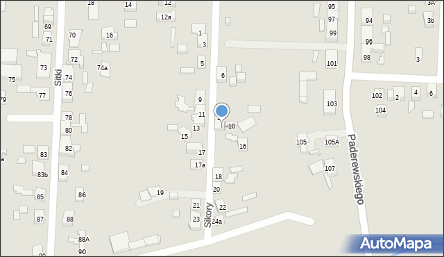 Zabrze, Sikory Jana, 14, mapa Zabrza