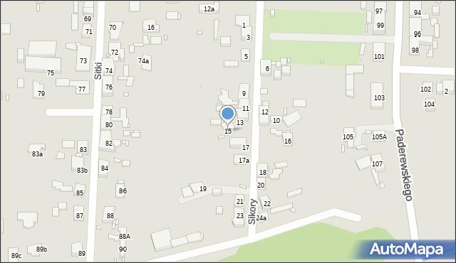 Zabrze, Sikory Jana, 15, mapa Zabrza