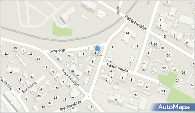 Zamość, Sienkiewicza Henryka, 2A, mapa Zamościa