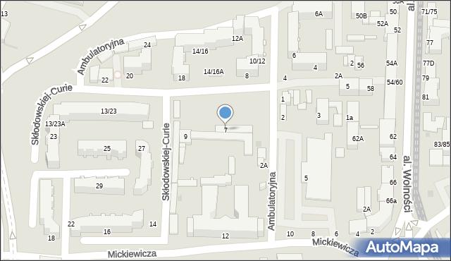 Częstochowa, Skłodowskiej-Curie Marii, 7, mapa Częstochowy