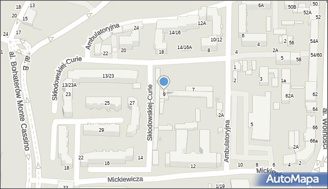 Częstochowa, Skłodowskiej-Curie Marii, 9, mapa Częstochowy